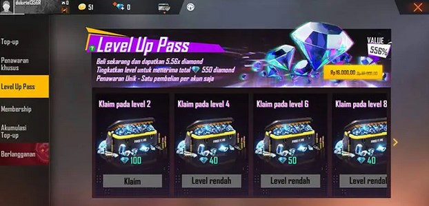Informasi Diamond FF Murah di Event Level Up Pass FF